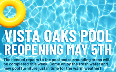 Vista Oaks Community Pool to reopen Saturday, May 5th
